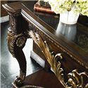 Thomasville® Brompton Hall Console Table w/ Granite Top - Detail of console base and granite top