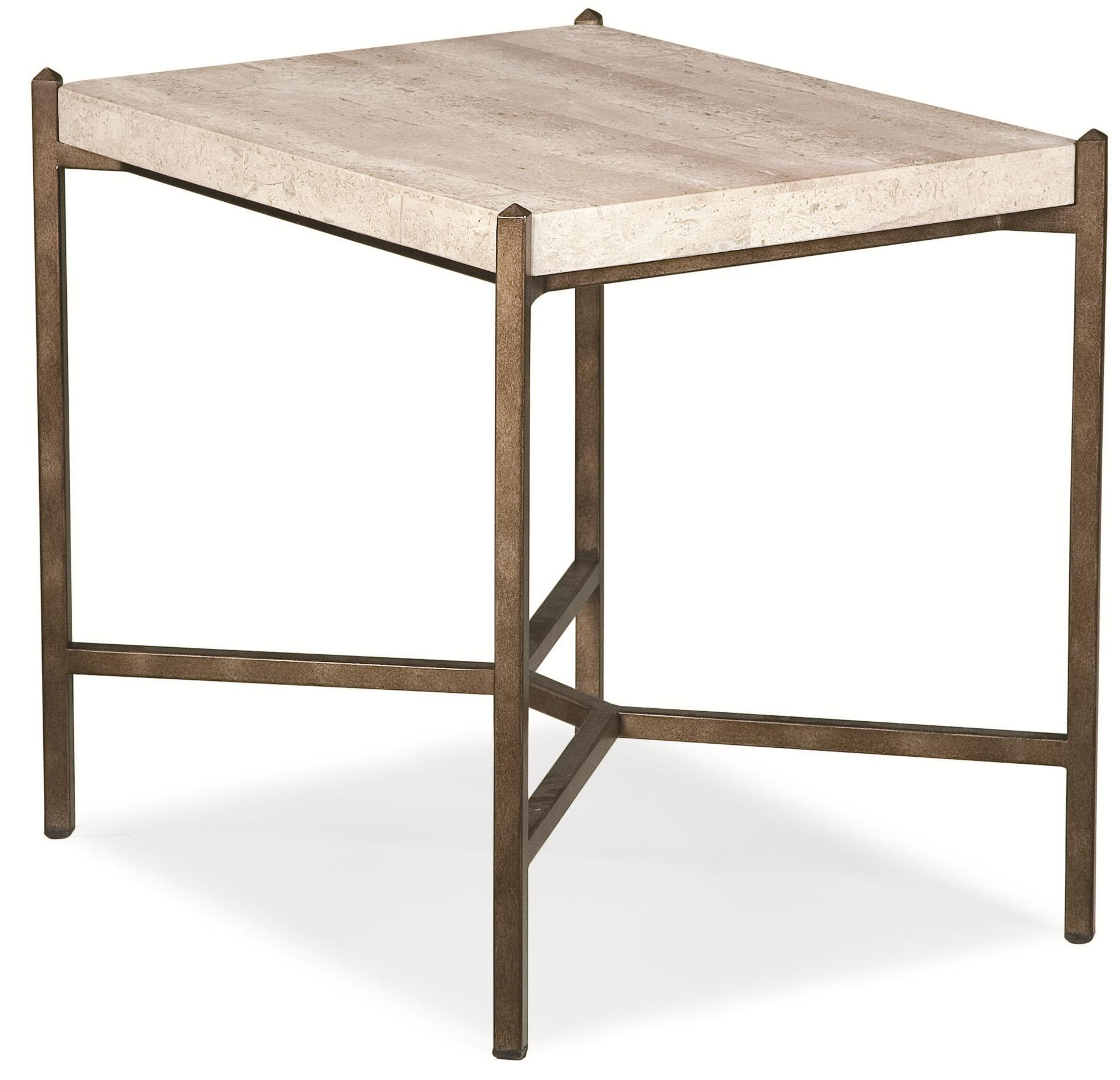 Thomasville Cachet End Table w Travertine Stone Top Dunk