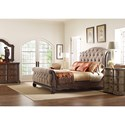 Thomasville® Casa Veneto King Tufted Sleigh Bed in Taupe Fabric