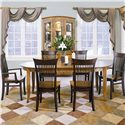 Thomasville® Color Café - Custom Dining Customizable 7 Piece Table and Chair Set - Shown with China Cabinet