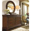 Thomasville® Deschanel Drawer Dresser w/ Crowned Top - Shown in Room Setting with Round Mirror