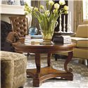 Thomasville® Deschanel Round Coffee Table w/ Glass Insert Top - Shown in Room Setting