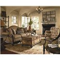 Thomasville® Ernest Hemingway 462 Pauline Camel Back Sofa with Exposed Wood Trim - Shown with Coordinating Collection Items in Eclectic Arrangement