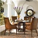 Thomasville® Ernest Hemingway  Pepica Round Table w/ Glass Top - Pepica Table Shown in Room Setting with Preserve Buffet, Steppe Octagonal Mirror and Valencia Club Chairs