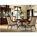 Thomasville® Ernest Hemingway  Rift Valley Round Dining Table - Rift Valley Dining Table Shown in Room Setting with Marceliano Arm Chairs and Green Hills China
