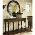 Thomasville® Ernest Hemingway  Basque Sofa Table w/ Drawer - Basque Console Table Shown with Romero Round Mirror