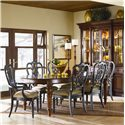 Thomasville® Fredericksburg Breakfront China Cabinet with Touch-Dimmer Lighting - Shown with Seven Piece Dining Set