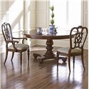 Thomasville® Fredericksburg Dining Arm Chair with Upholstered Seat - Shown with Matching Side Chair and Round Dining Table