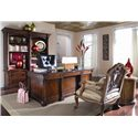 Thomasville® Fredericksburg Executive Desk with Ample Storage - Shown with a Desk Chair and a Biblitheque