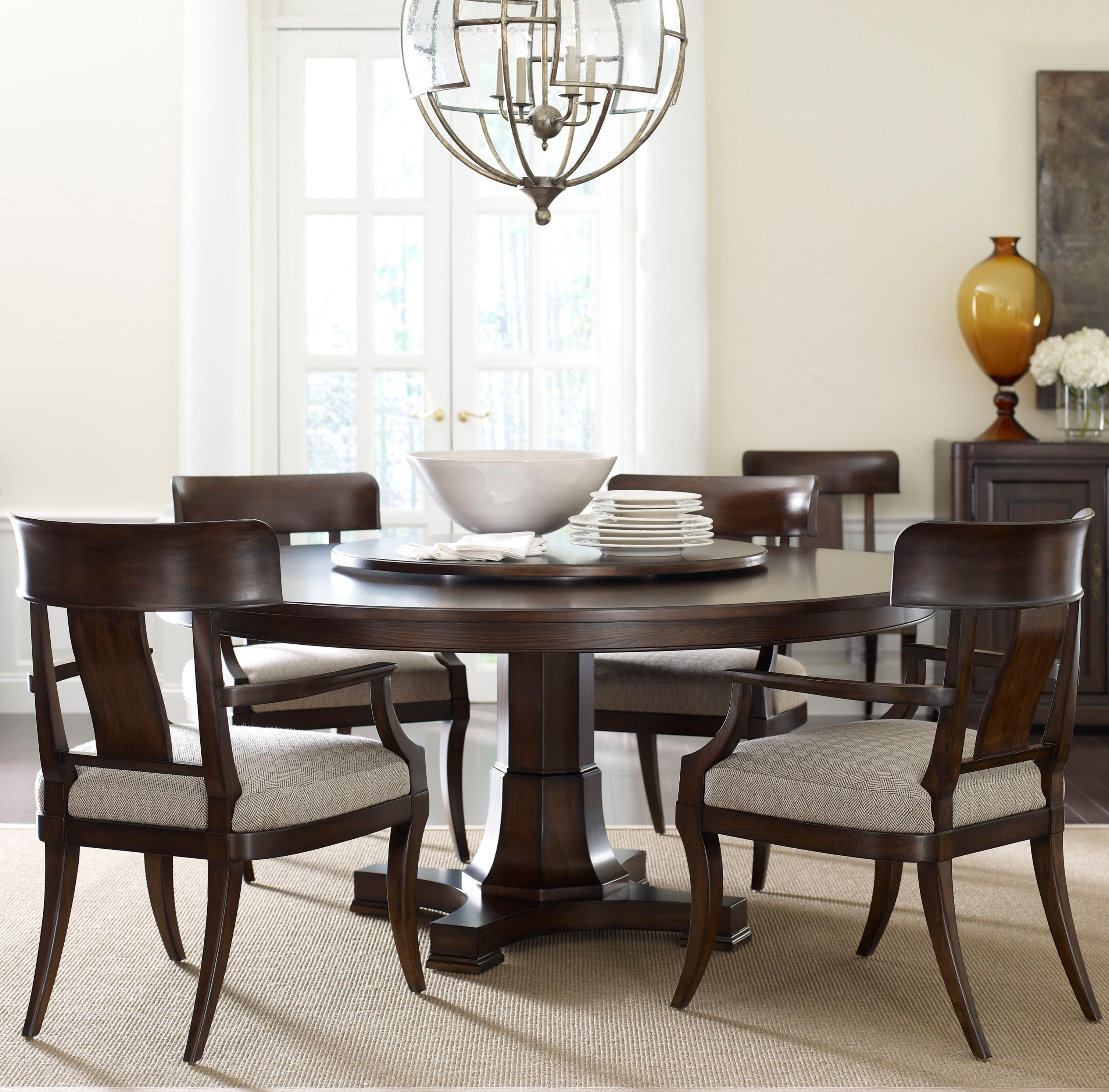 Thomasville harlowe finch five piece adelaide dining set with lazy susan stuckey furniture dining 5 piece set