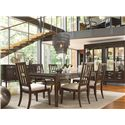Thomasville® Lantau 7 Piece Dining Leg Table and Chair Set - Shown in Room Setting with Sideboard with China