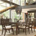 Thomasville® Lantau Dining Arm Chair w/ Upholstered Seat - Shown with Table and Side Chairs