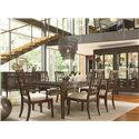 Thomasville® Lantau Dining Arm Chair w/ Upholstered Seat - Shown in Room Setting with Sideboard, China, Table and Side Chairs