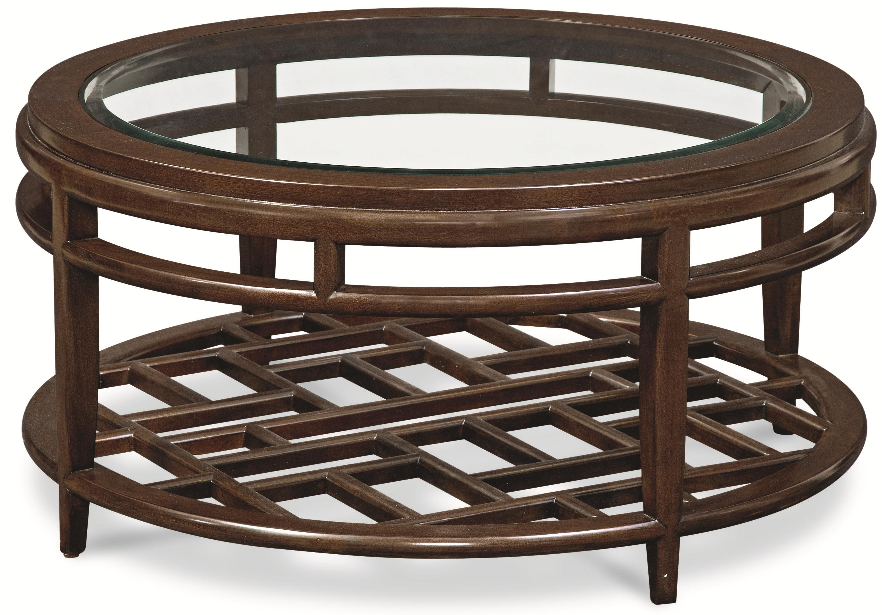 Thomasville Lantau Round Coffee Table w Wood Framed Glass Top