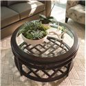 Thomasville® Lantau Round Coffee Table w/ Wood Framed Glass Top - Shown in Room Setting