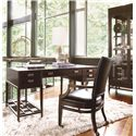 Thomasville® Lantau Writing Desk w/ 2 Lower Shelves - Shown in Room Setting with Office Chair and China