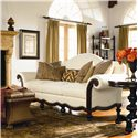 Thomasville® Pauline  Camel Back Sofa with Wood Base - Shown in Room Setting