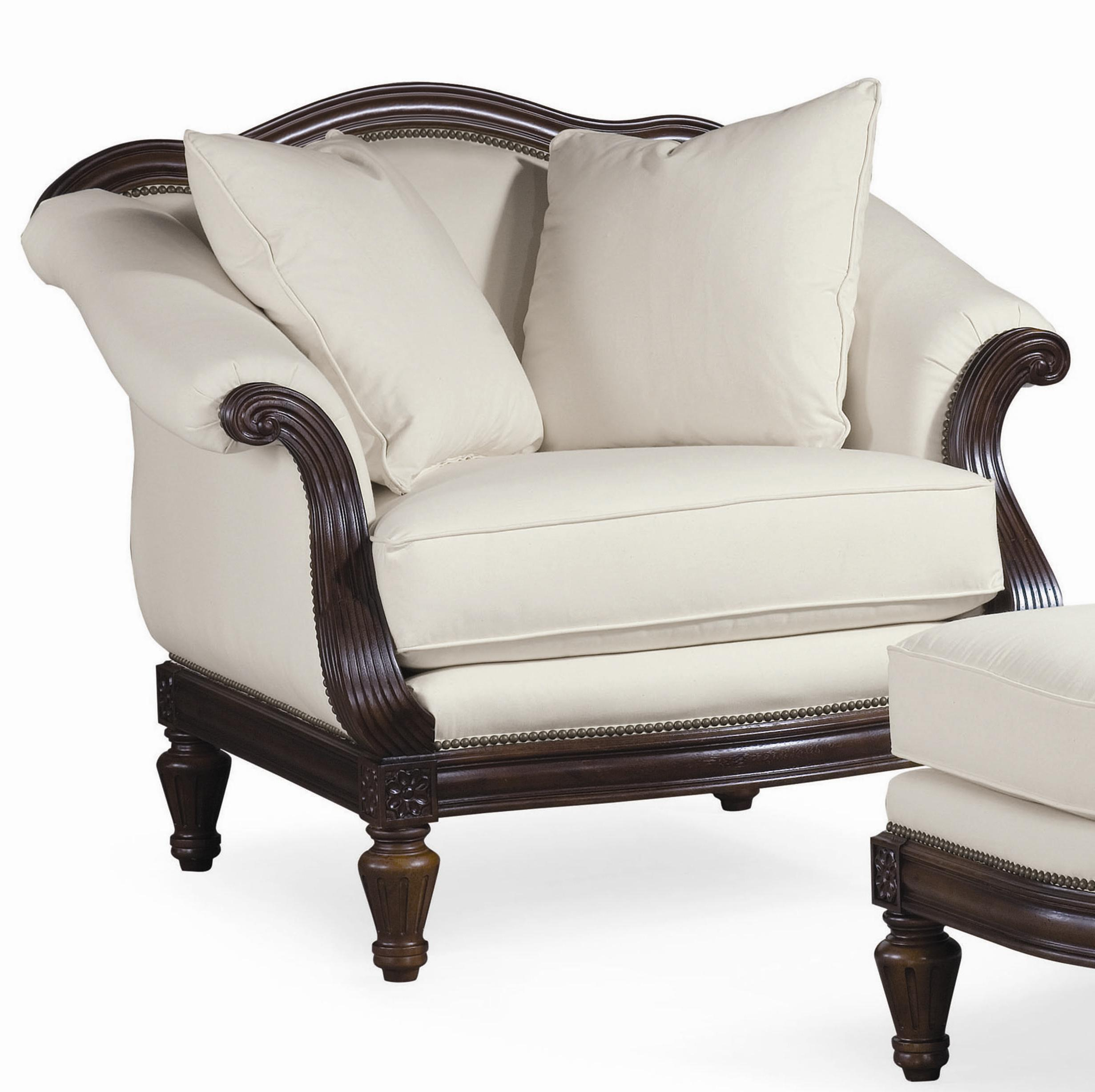 Thomasville® Sorrento Classic Arm Chair With Exposed Wood Accents   Stuckey  Furniture   Upholstered Chairs