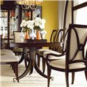 Thomasville® Studio 455 Double Pedestal Dining Table - Shown with Side Chairs, Upholstered Arm Chairs, and Bunching Curios