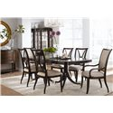 Thomasville® Studio 455 Double Pedestal Dining Table - Shown with Side Chairs, Upholstered Arm Chairs, Bunching Curios, Credenza, and Mirror