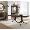 Thomasville® Studio 455 Double Pedestal Dining Table - Shown with Bunching Curios, Credenza, and Mirror