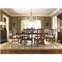 Thomasville® Tate Street Double Pedestal Dinner Table - Shown in Room Setting with China, Side and Arm Chairs