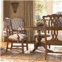 Thomasville® Tate Street Dining Arm Chair w/ Ribbon Back - Shown in Room Setting with Side Chair and Double Pedestal Table