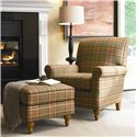 Thomasville® Upholstered Chairs and Ottomans Solitaire Upholstered Ottoman with Turned Feet - Shown in Room Setting with Solitaire Chair