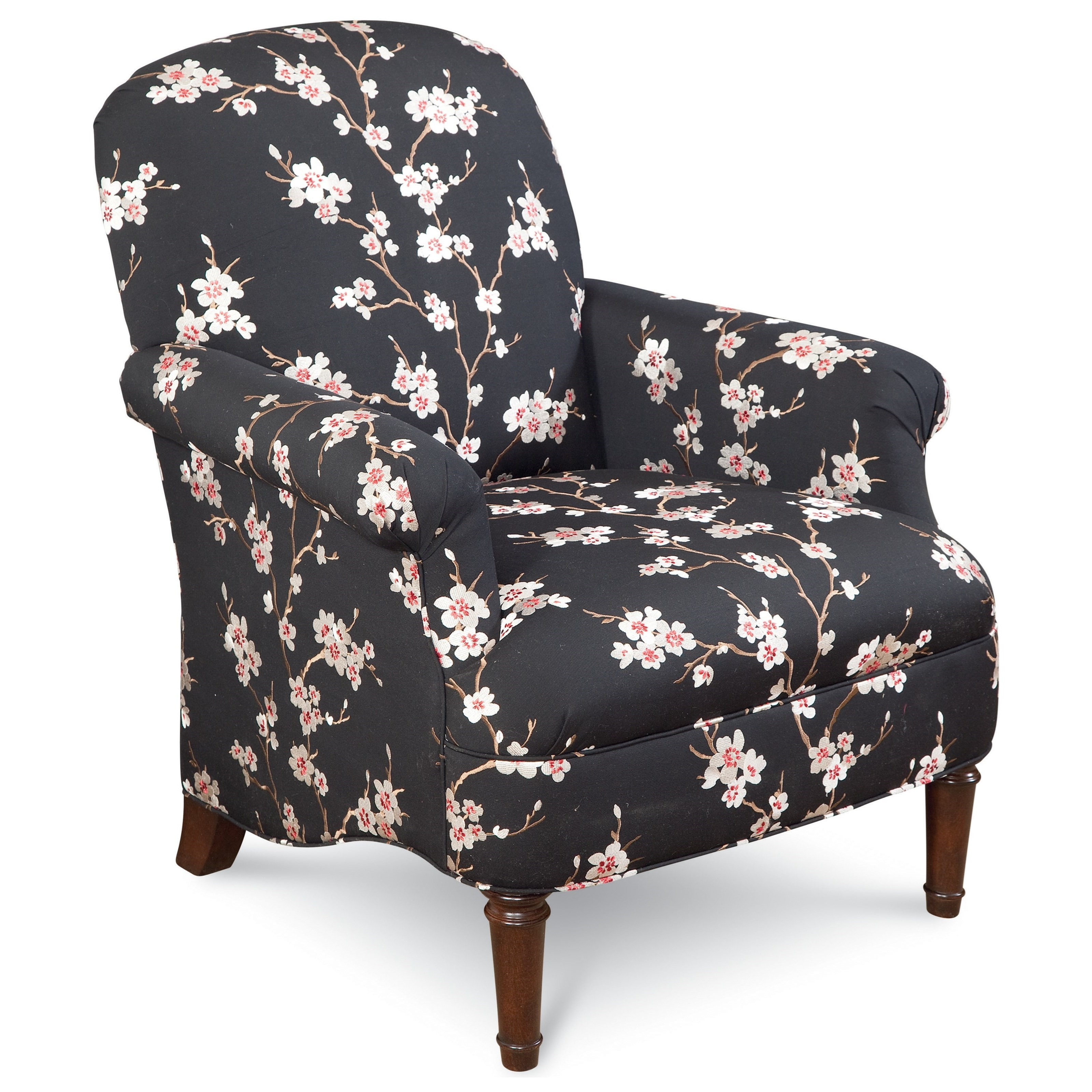 Thomasville® Upholstered Chairs And Ottomans Kinley Chair With Roll Pleated  Arms And Turned Wood Legs   Stuckey Furniture   Upholstered Chairs