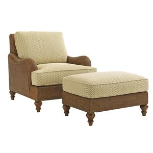 Tommy Bahama Home Bali Hai Harborside Chair and Ottoman Set