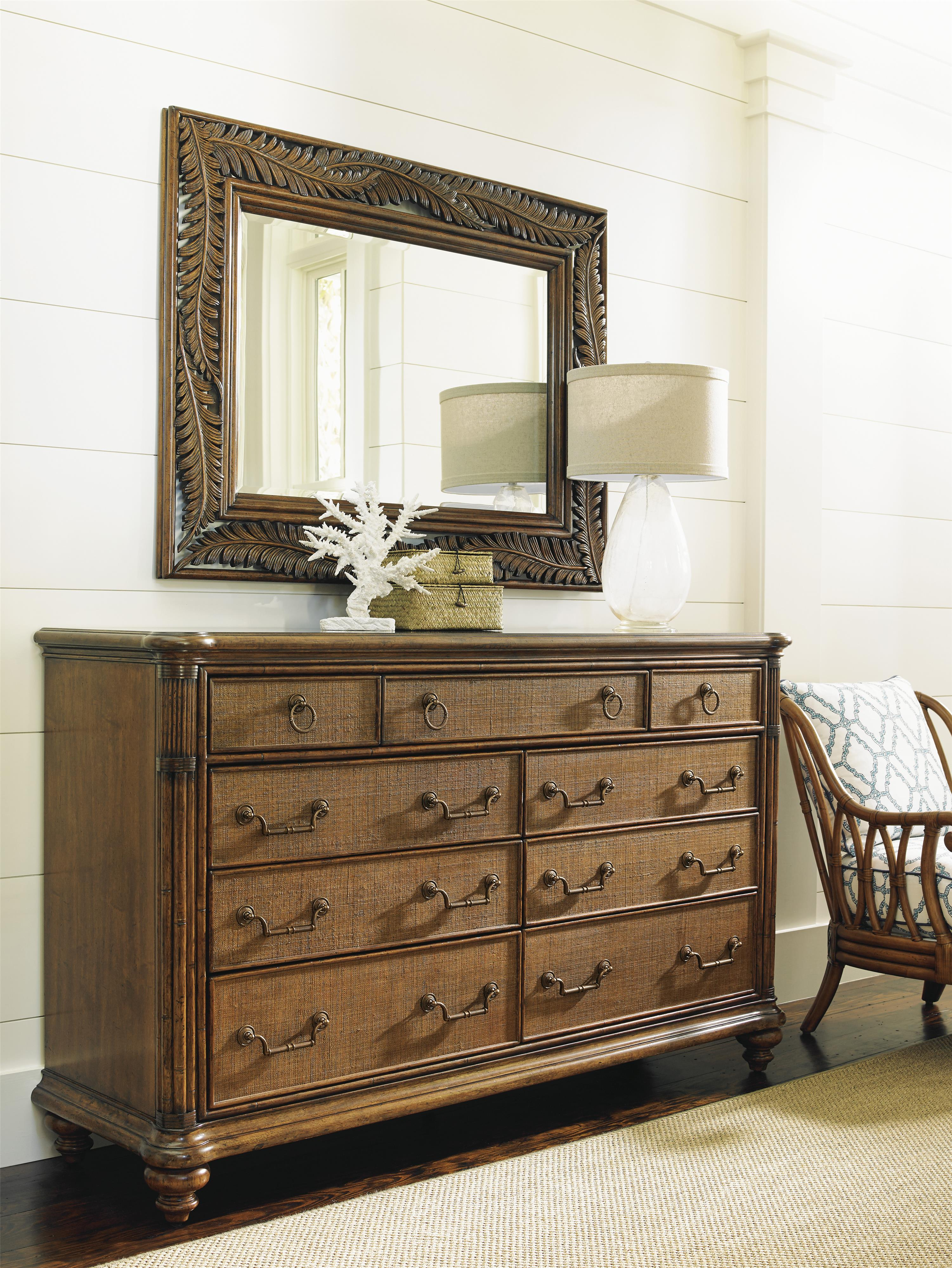 Tommy Bahama Home Bali Hai Costa Sera Triple Dresser and Mirror Set - Item Number: 593-234+593-206