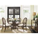 Tommy Bahama Home Bali Hai Tropical 5 Piece Dining Room Set - Item Number: 593-870+2x887-01+2x886-01+001-036GT