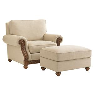 Tommy Bahama Home Bali Hai Customizable Shoreline Chair and Ottoman Set