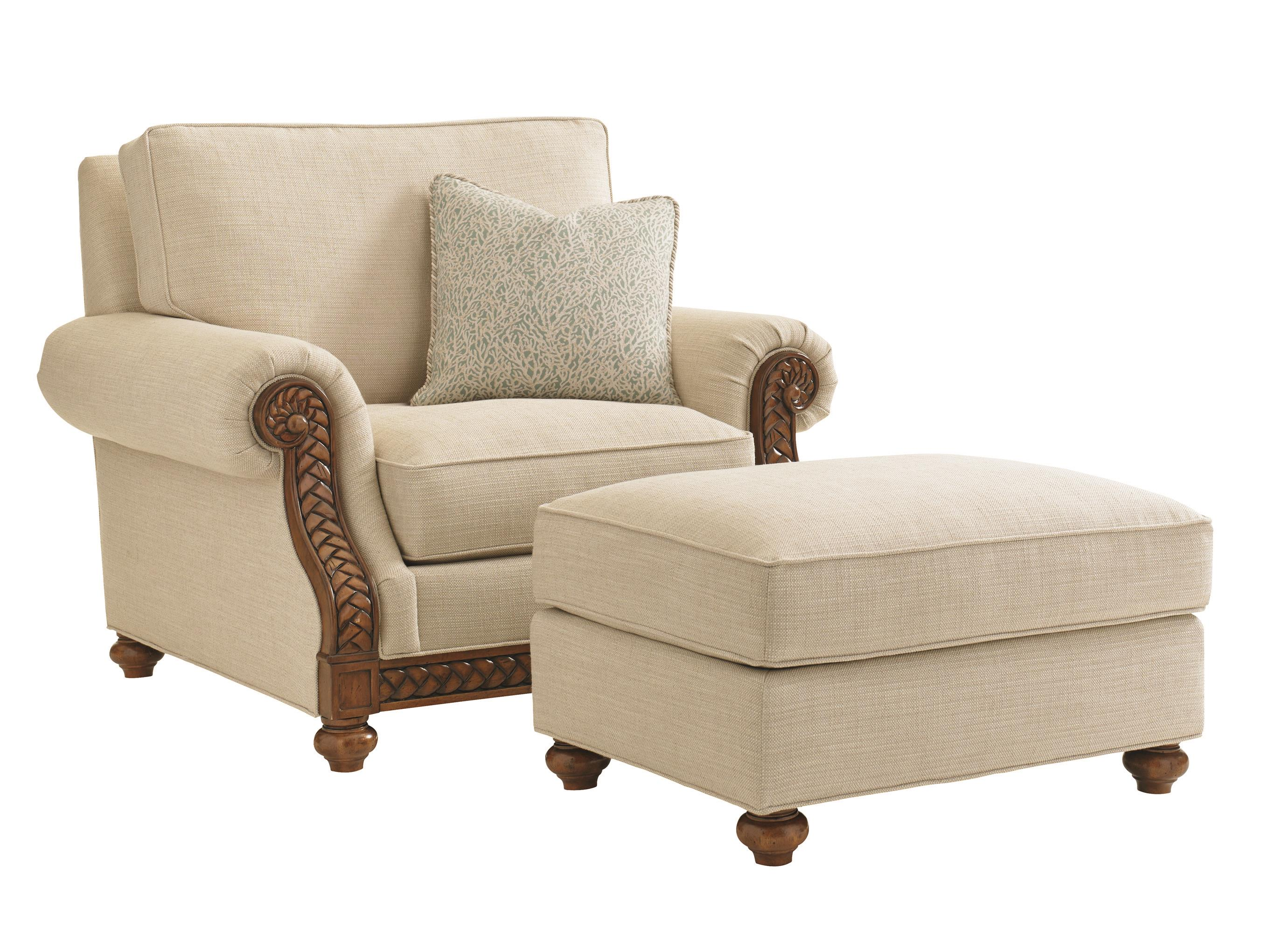 Tommy Bahama Home Bali Hai Quickship Shoreline Chair and Ottoman Set - Item Number: 7844-11-02+7844-44-02