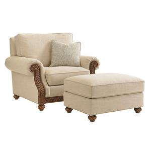 Tommy Bahama Home Bali Hai Quickship Shoreline Chair and Ottoman Set
