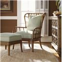 Tommy Bahama Home Beach House Island-Inspired Exposed Rattan Winged Sunset Cove Chair - Shown with Sunset Cove Ottoman and Tarpon Springs Hall Chest