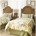 Tommy Bahama Home Beach House Twin-Size Belle Isle Headboard with Bamboo Accents - Shown with Captiva Nightstand - Bed Shown May Not Represent Size Indicated