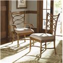 Tommy Bahama Home Beach House Seven-Piece Coconut Grove Round Dining Table with Sanibel Bent Rattan Chairs Set - Sanibel Arm and Side Chairs