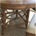 Tommy Bahama Home Beach House Round Coconut Grove Dining Table with Bent Rattan Accents & Expansion Leaf - Leather-Wrapped Bent Rattan Base