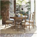 Tommy Bahama Home Beach House Round Coconut Grove Dining Table with Bent Rattan Accents & Expansion Leaf - Shown with Sanibel Side Chairs