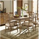 Tommy Bahama Home Beach House Seven-Piece Boca Grande Rectangular Table & Sanibel Bent Rattan Chairs Set - Shown with Siesta Key Buffet