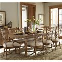 Tommy Bahama Home Beach House Nine-Piece Boca Grande Rectangular Leg Table & Sanibel Bent Rattan Chairs Set