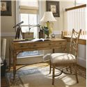 Tommy Bahama Home Beach House <b>Customizable</b> Sanibel Side Chair with Leather-Wrapped Bent Rattan Back - Shown with Clearwater Writing Desk