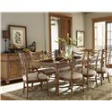 Tommy Bahama Home Beach House <b>Customizable</b> Sanibel Arm Chair with Leather-Wrapped Bent Rattan Back - Shown with Boca Grande Dining Table, Sanibel Side Chairs, and Siesta Key Buffet