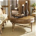 Tommy Bahama Home Beach House Oyster Cove Round Cocktail Table with Bamboo & Rattan Accents - Shown with Edisto Sofa