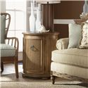 Tommy Bahama Home Beach House Round Drum-Style Pompano Accent Table with One Door & One Shelf - Shown with Golden Isle Sofa and Sunset Cove Chair