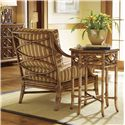 Tommy Bahama Home Beach House Leather-Wrapped Bent Rattan Hexagonal Coral Springs Accent Table - Shown with Edisto Chair