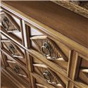 Tommy Bahama Home Beach House Three-Drawer Tarpon Springs Hall Chest with Diamon Motif & Bamboo Inlays - Diamond Motif Drawer Fronts with Reeded Bamboo Insets and Custom Ring Pulls