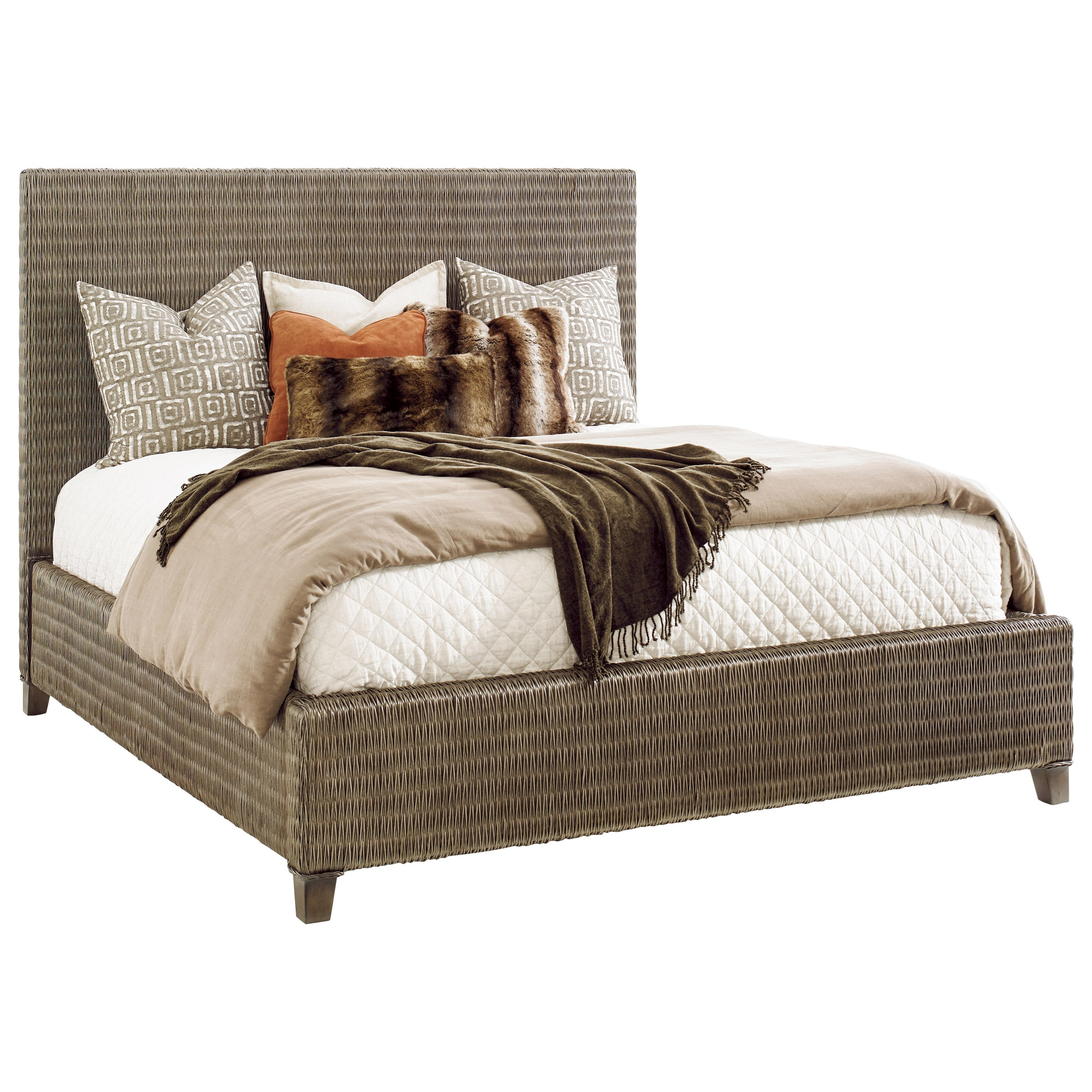 Tommy Bahama Home Cypress Point 562 133c Driftwood Isle Woven Wicker Platform Bed Queen Size Baer S Furniture Platform Beds Low Profile Beds