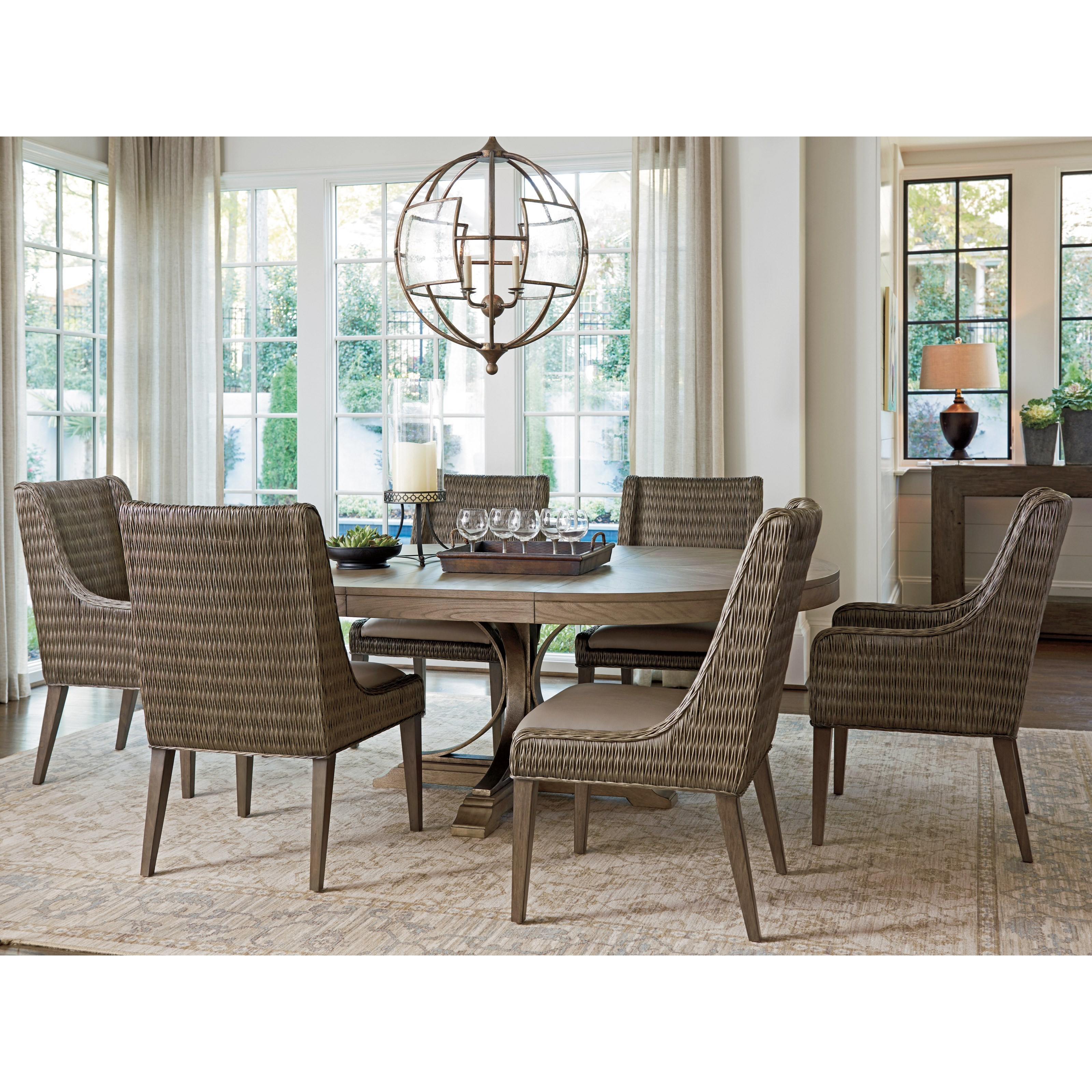 Tommy Bahama Home Cypress Point 562 882 Brandon Woven Rattan Side Chair With Custom Fabric